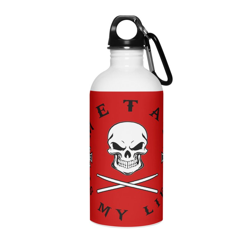 Metal Is My Life (White Skull) Accessories Water Bottle by Drum Geek Online Shop