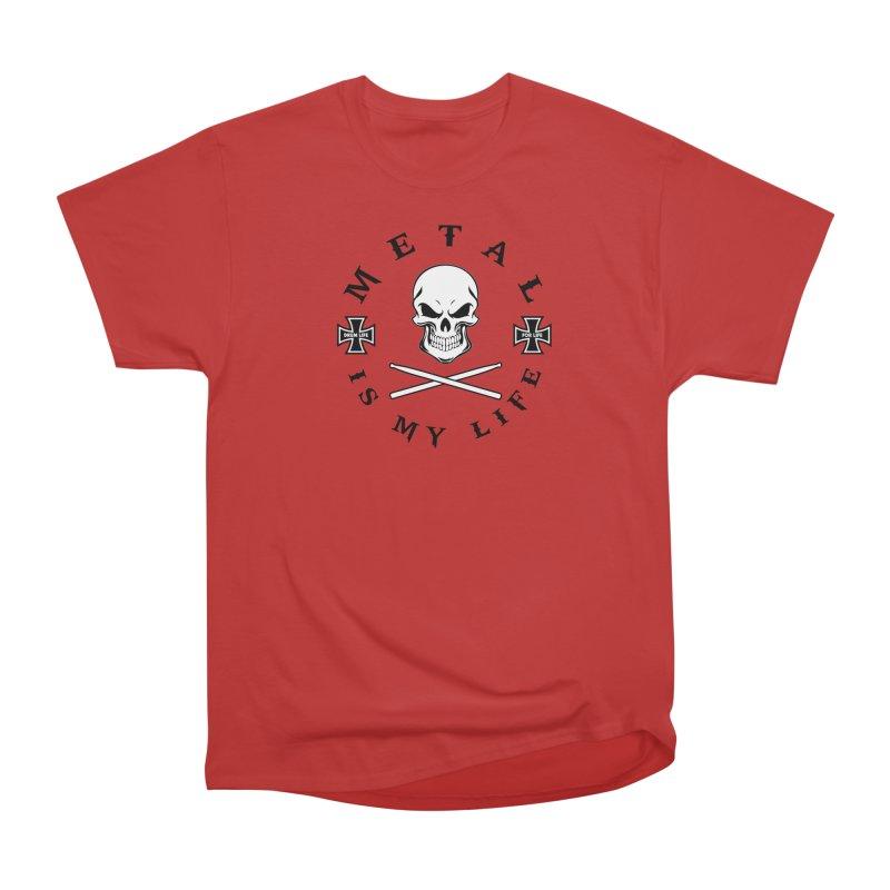 Metal Is My Life (White Skull) in Men's Heavyweight T-Shirt Red by Drum Geek Online Shop