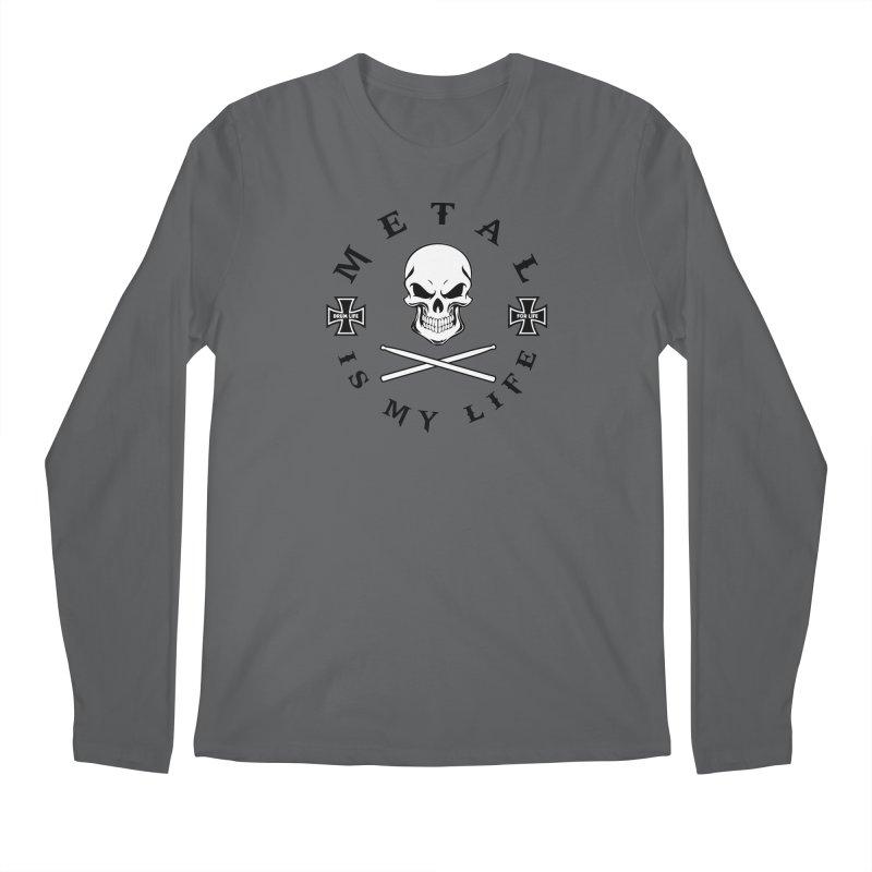 Metal Is My Life (White Skull) Men's Longsleeve T-Shirt by Drum Geek Online Shop