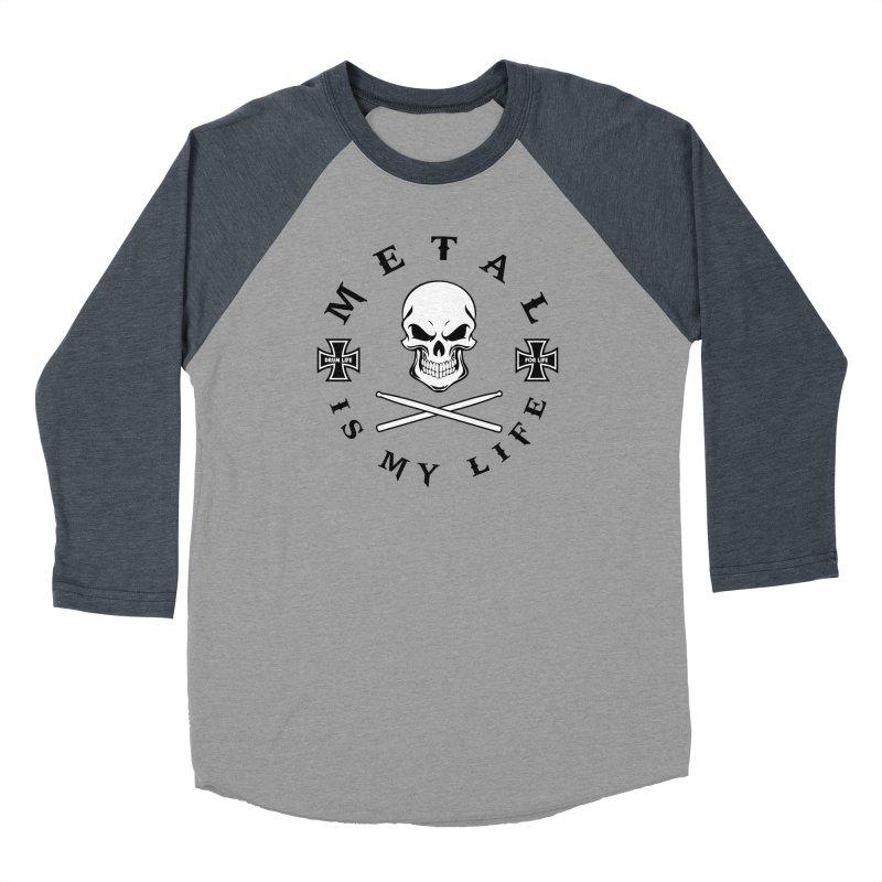 Metal Is My Life (White Skull) in Men's Baseball Triblend Longsleeve T-Shirt Navy Sleeves by Drum Geek Online Shop