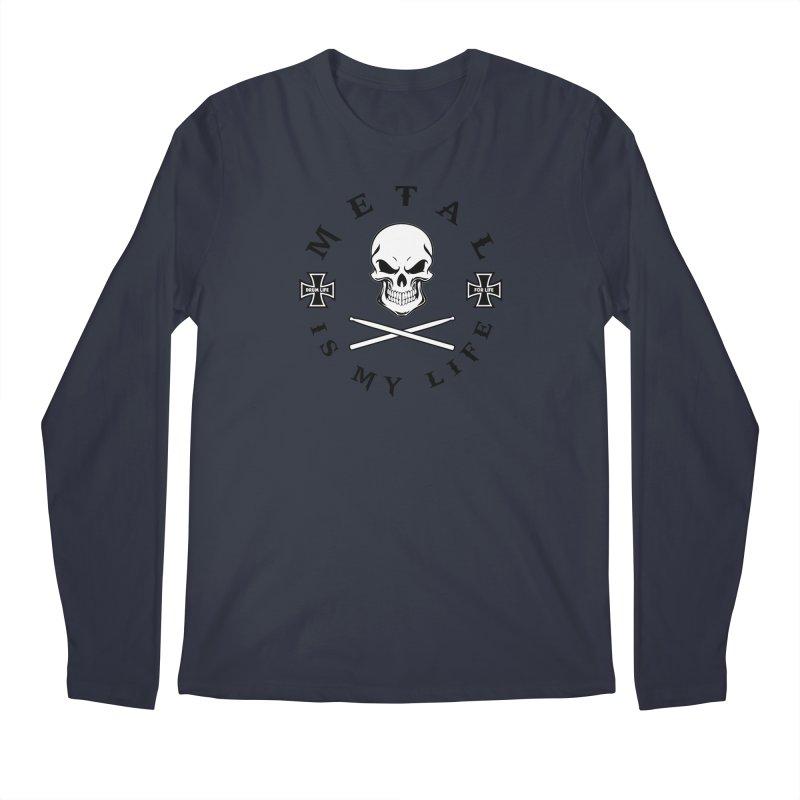 Metal Is My Life (White Skull) Men's Regular Longsleeve T-Shirt by Drum Geek Online Shop