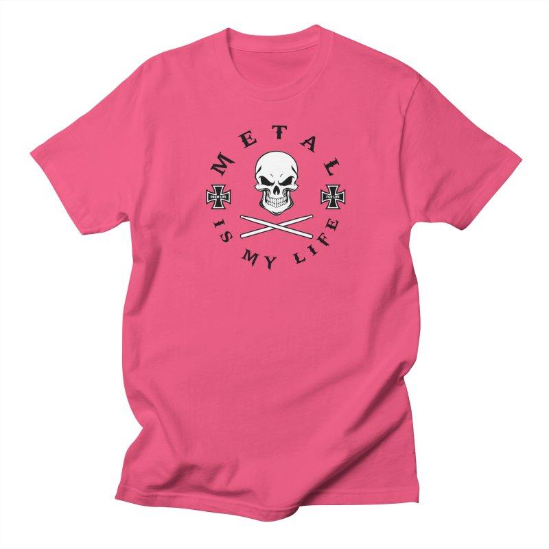 Metal Is My Life (White Skull) Women's Regular Unisex T-Shirt by Drum Geek Online Shop