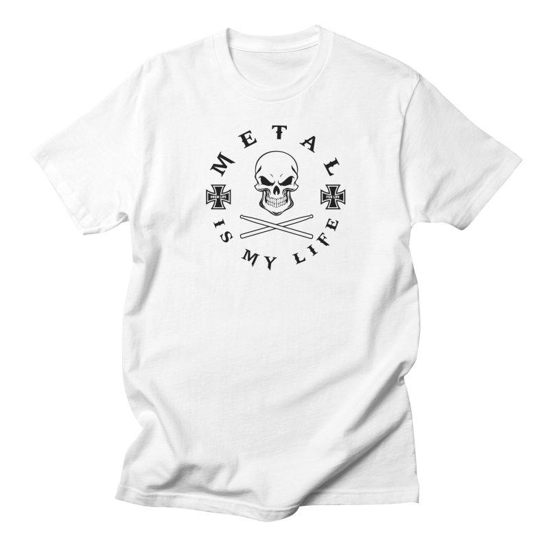 Metal Is My Life (Black Transparent) in Men's Regular T-Shirt White by Drum Geek Online Shop