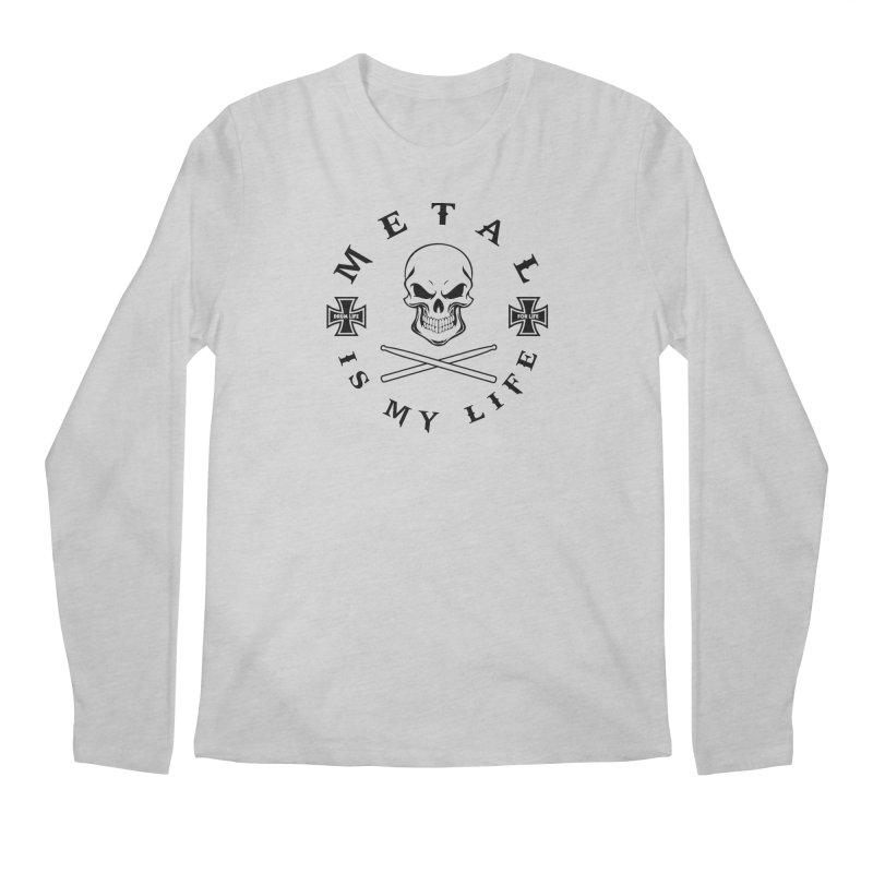 Metal Is My Life (Black Transparent) Men's Regular Longsleeve T-Shirt by Drum Geek Online Shop