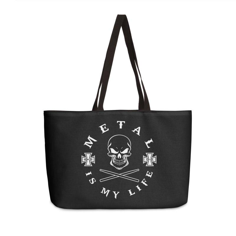 Metal Is My Life (White Transparent) Accessories Weekender Bag Bag by Drum Geek Online Shop
