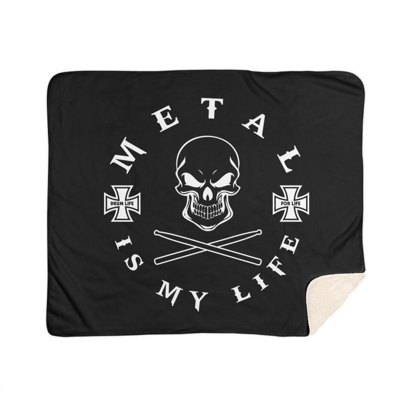Metal Is My Life (White Transparent) Home Sherpa Blanket Blanket by Drum Geek Online Shop