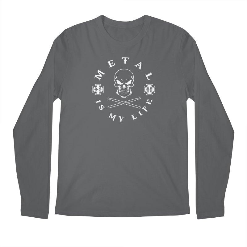 Metal Is My Life (White Transparent) Men's Longsleeve T-Shirt by Drum Geek Online Shop