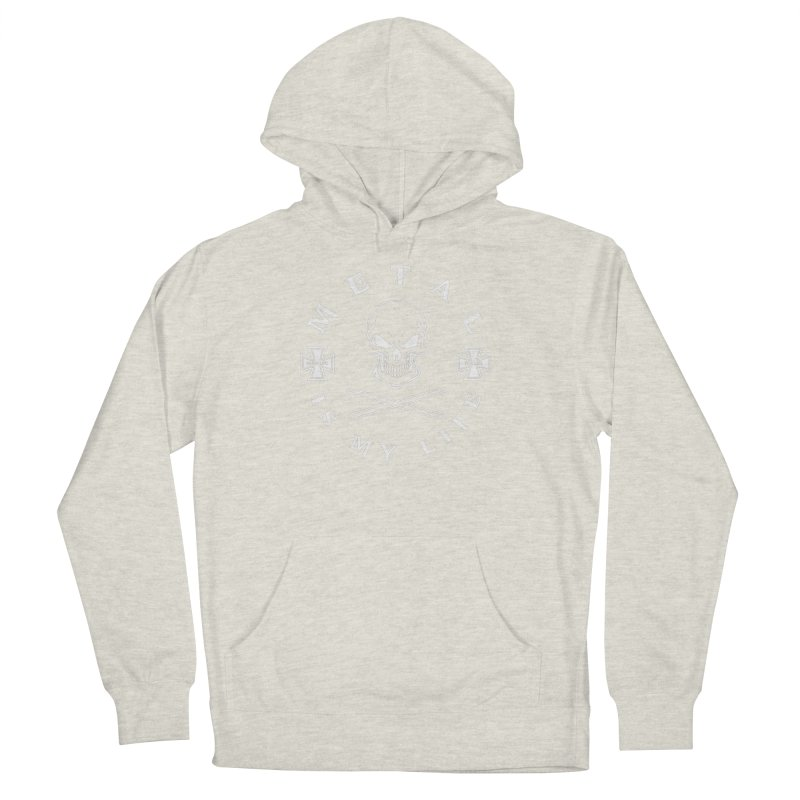 Metal Is My Life (White Transparent) Men's French Terry Pullover Hoody by Drum Geek Online Shop