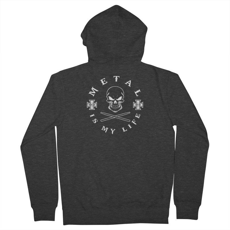 Metal Is My Life (White Transparent) Women's French Terry Zip-Up Hoody by Drum Geek Online Shop