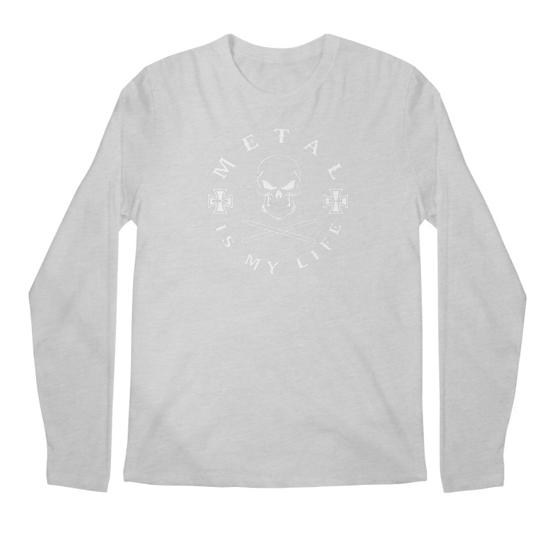 Metal Is My Life (White Transparent) Men's Regular Longsleeve T-Shirt by Drum Geek Online Shop