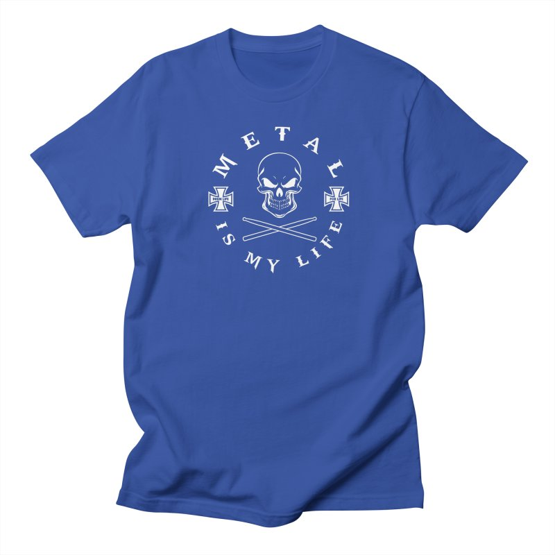 Metal Is My Life (White Transparent) Men's Regular T-Shirt by Drum Geek Online Shop