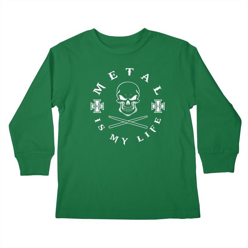 Metal Is My Life (White Transparent) Kids Longsleeve T-Shirt by Drum Geek Online Shop