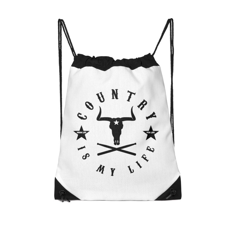 Country Is My Life (Black Logo) Accessories Drawstring Bag Bag by Drum Geek Online Shop