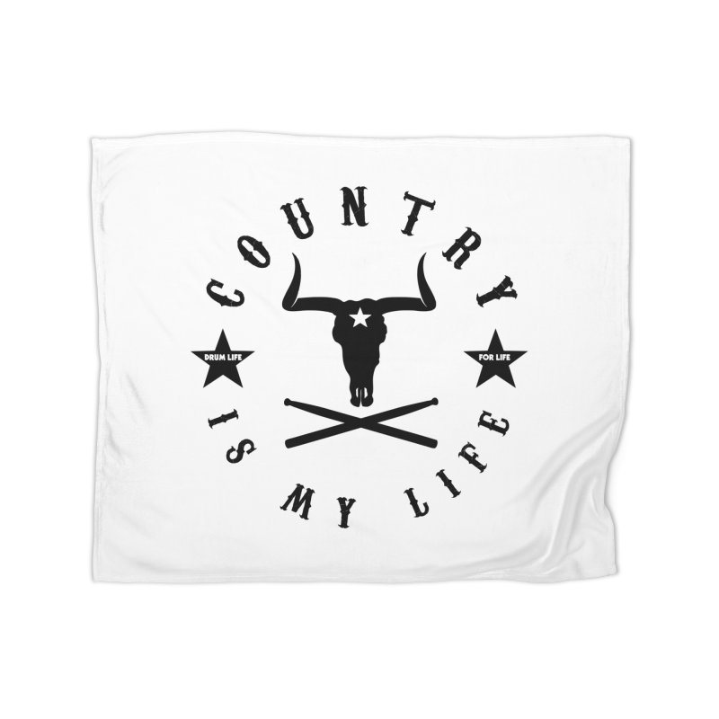 Country Is My Life (Black Logo) Home Fleece Blanket Blanket by Drum Geek Online Shop