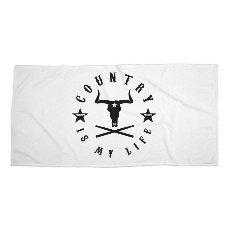Country Is My Life (Black Logo) Accessories Beach Towel by Drum Geek Online Shop