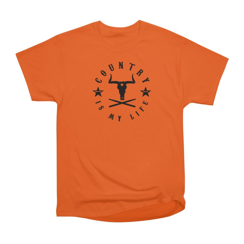 Country Is My Life (Black Logo) in Men's Heavyweight T-Shirt Orange Poppy by Drum Geek Online Shop