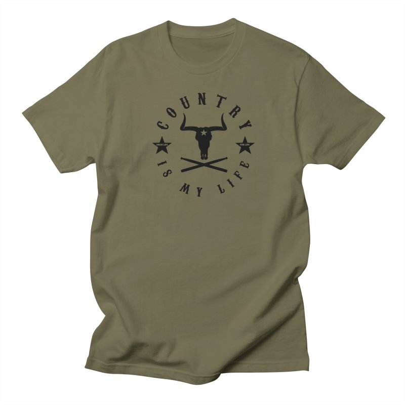 Country Is My Life (Black Logo) in Men's Regular T-Shirt Olive by Drum Geek Online Shop