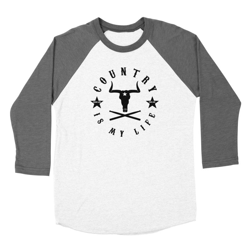 Country Is My Life (Black Logo) in Men's Baseball Triblend Longsleeve T-Shirt Tri-Grey Sleeves by Drum Geek Online Shop