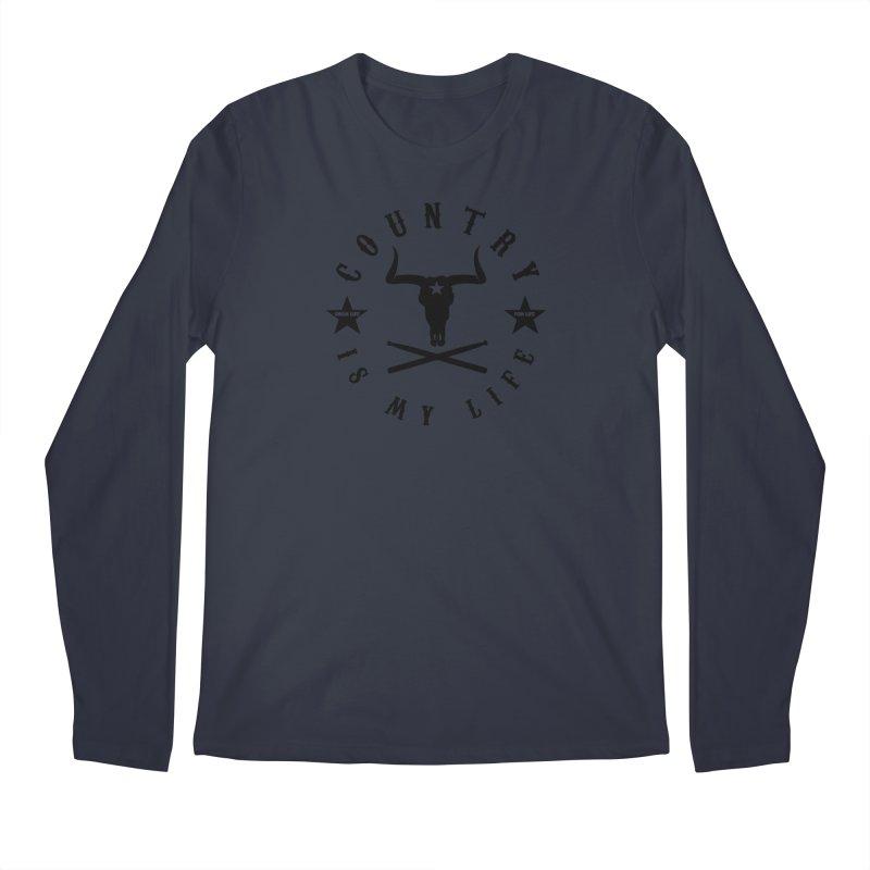 Country Is My Life (Black Logo) Men's Regular Longsleeve T-Shirt by Drum Geek Online Shop
