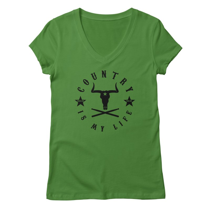 Country Is My Life (Black Logo) in Women's Regular V-Neck Leaf by Drum Geek Online Shop