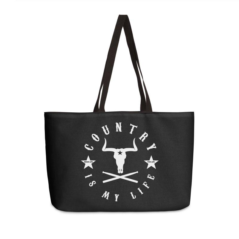 Country Is My Life (White Logo) Accessories Weekender Bag Bag by Drum Geek Online Shop