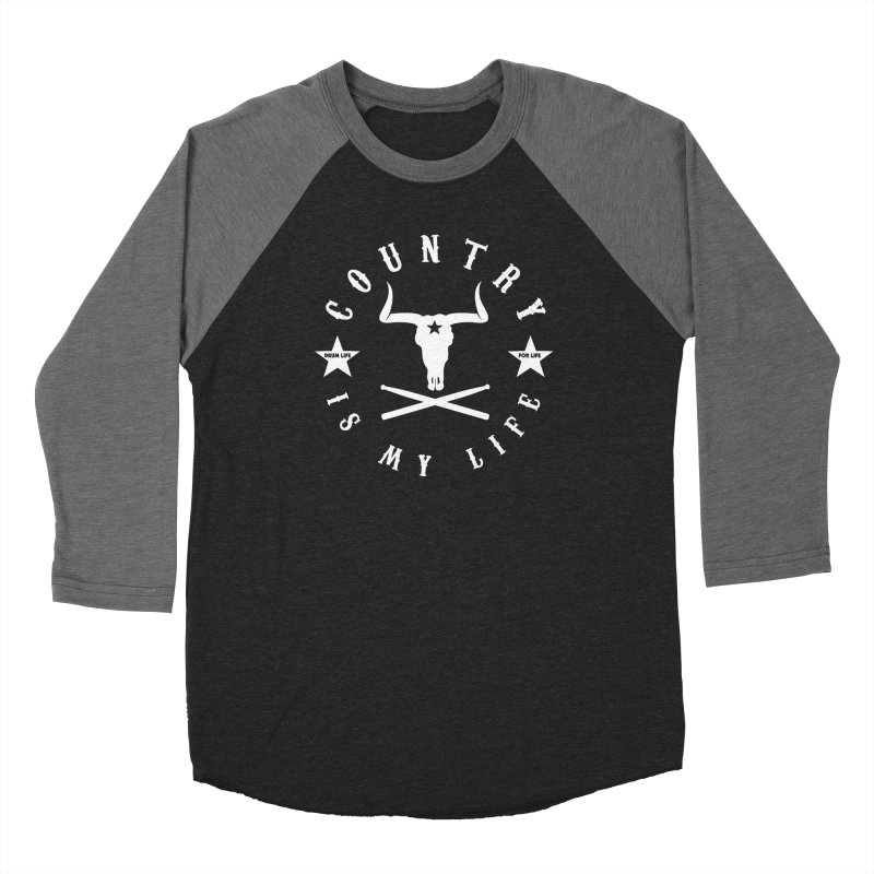 Country Is My Life (White Logo) in Men's Baseball Triblend Longsleeve T-Shirt Grey Triblend Sleeves by Drum Geek Online Shop