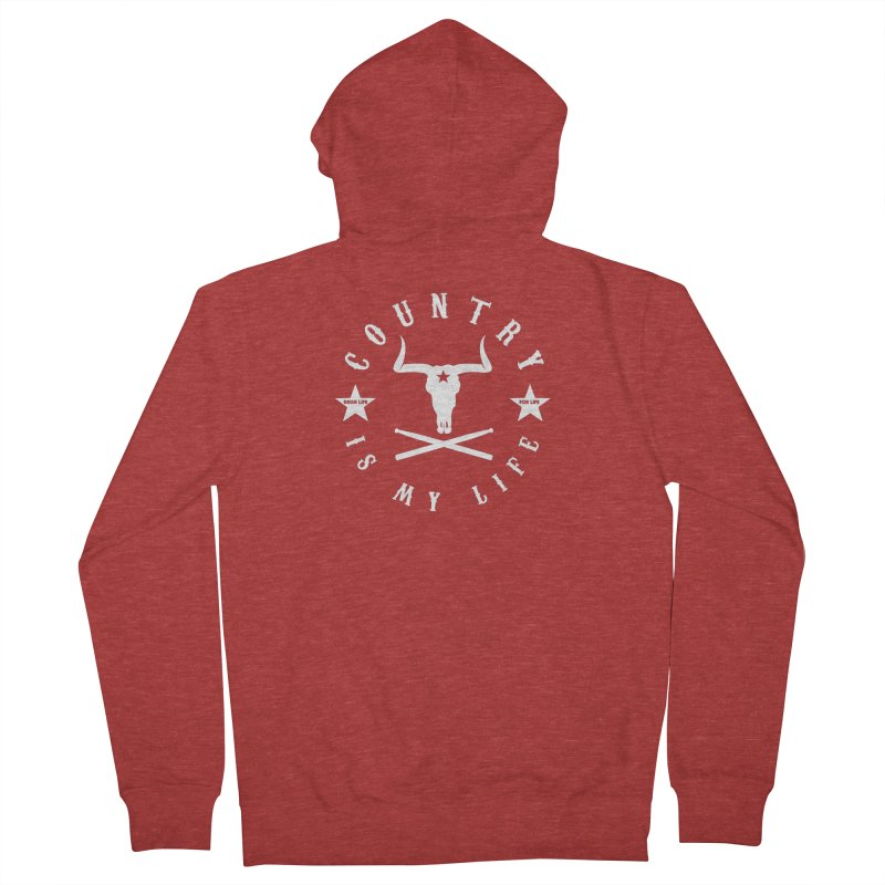 Country Is My Life (White Logo) Men's French Terry Zip-Up Hoody by Drum Geek Online Shop