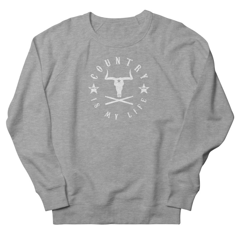Country Is My Life (White Logo) Men's French Terry Sweatshirt by Drum Geek Online Shop