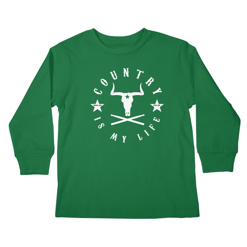 Country Is My Life (White Logo) Kids Longsleeve T-Shirt by Drum Geek Online Shop