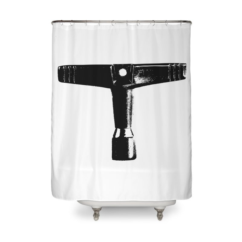 Drum Key (Black Logo) Home Shower Curtain by Drum Geek Online Shop