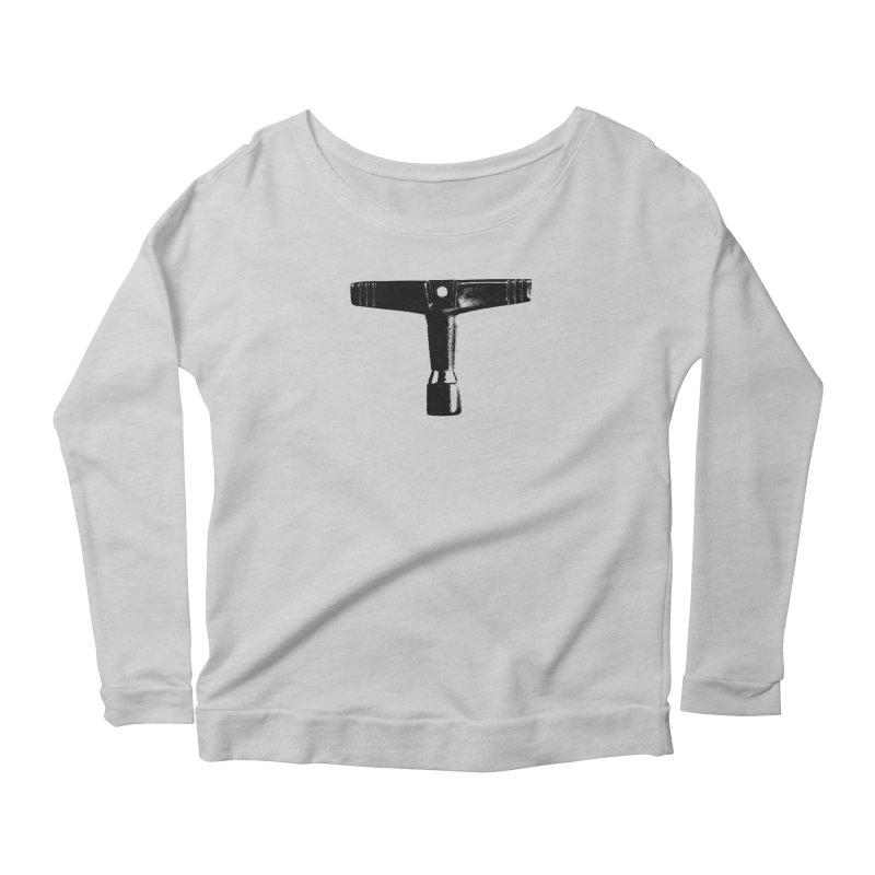 Drum Key (Black Logo) Women's Scoop Neck Longsleeve T-Shirt by Drum Geek Online Shop