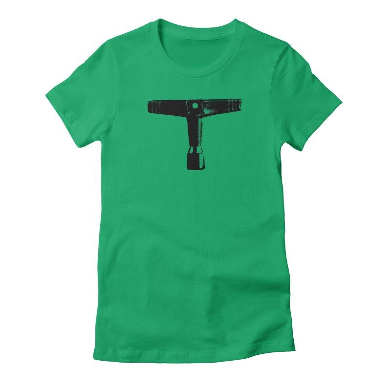 Drum Key (Black Logo) Women's Fitted T-Shirt by Drum Geek Online Shop