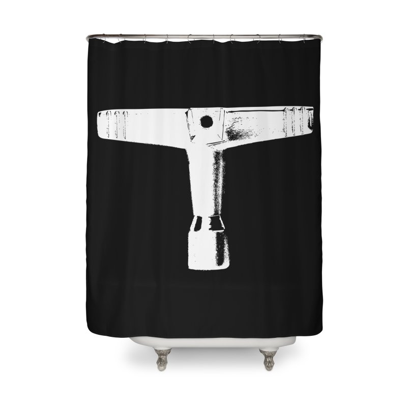 Drum Key (White Logo) Home Shower Curtain by Drum Geek Online Shop