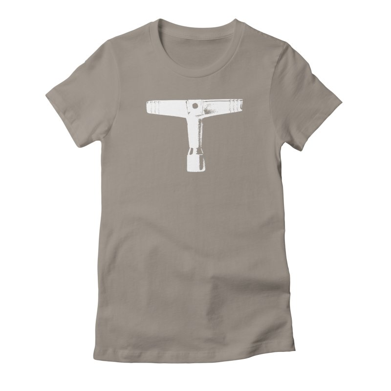 Drum Key (White Logo) Women's Fitted T-Shirt by Drum Geek Online Shop