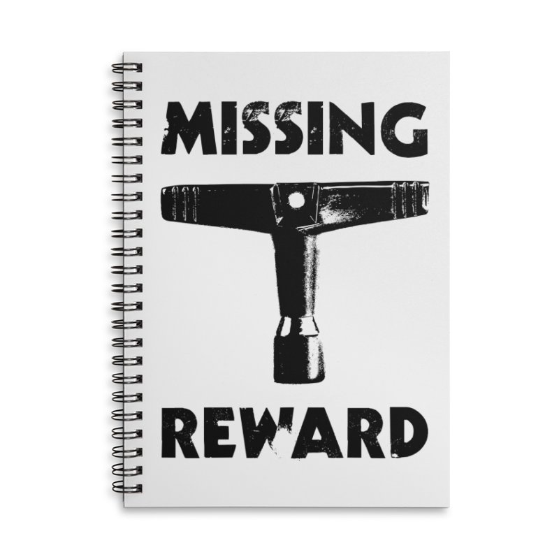 Missing Drum Key (Black Logo) Accessories Lined Spiral Notebook by Drum Geek Online Shop