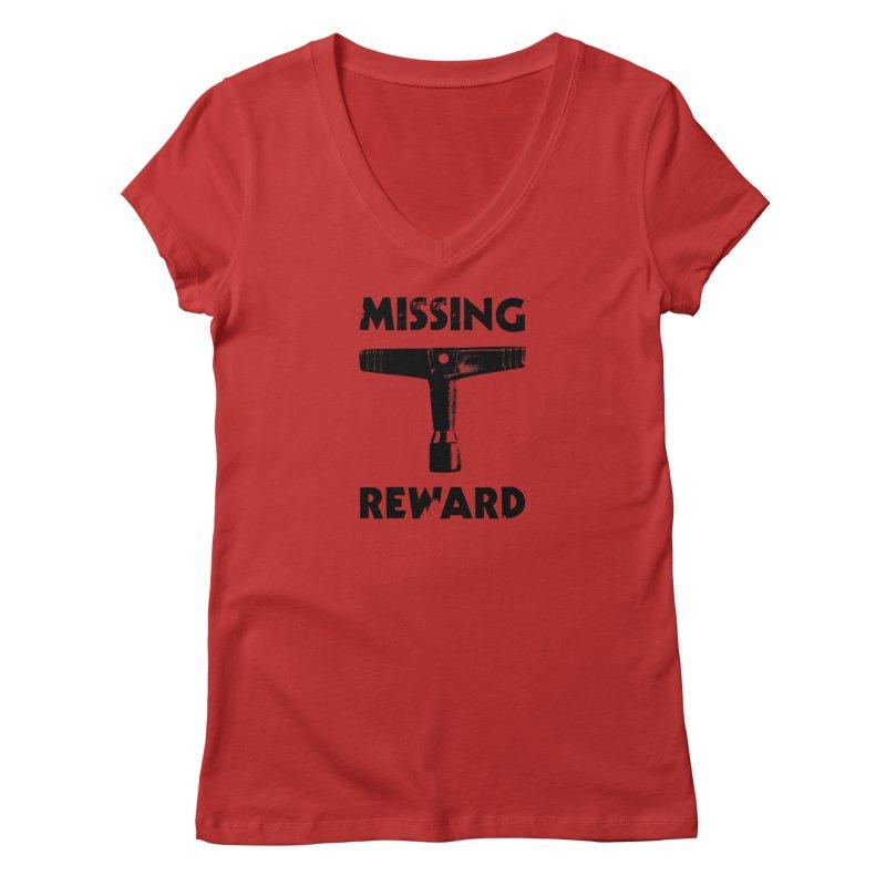 Missing Drum Key - Black Logo Women's V-Neck by Drum Geek Online Shop
