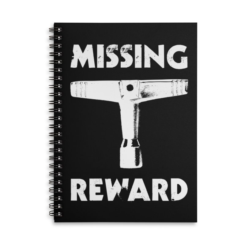 Missing Drum Key (White Logo) Accessories Lined Spiral Notebook by Drum Geek Online Shop