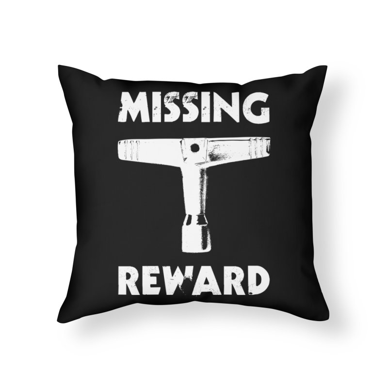 Missing Drum Key (White Logo) Home Throw Pillow by Drum Geek Online Shop
