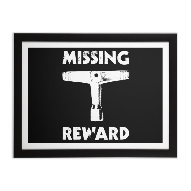 Missing Drum Key - White Logo Home Framed Fine Art Print by Drum Geek Online Shop