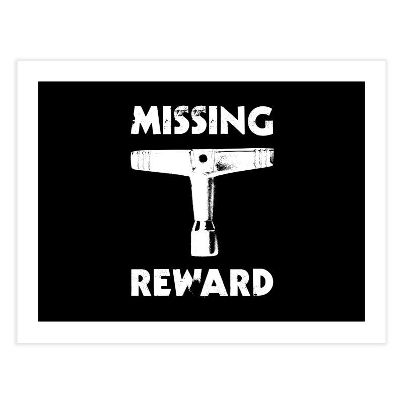 Missing Drum Key - White Logo Home Fine Art Print by Drum Geek Online Shop