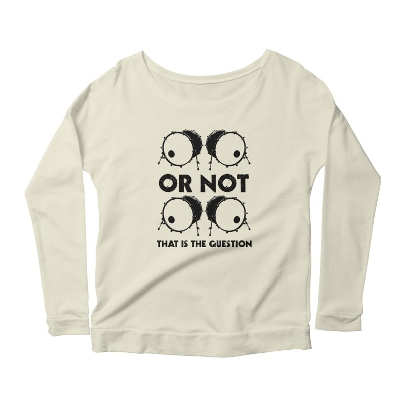 2 Kicks or Or Not 2 Kicks (Black) Women's Scoop Neck Longsleeve T-Shirt by Drum Geek Online Shop