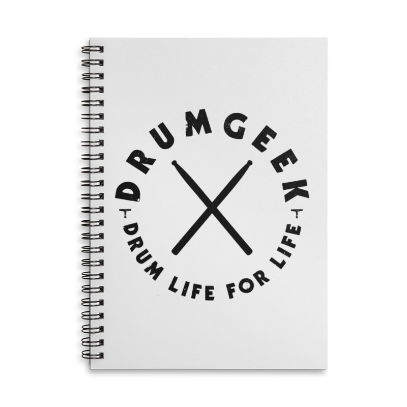 Drum Geel DLFL Logo 3 (Black) Accessories Lined Spiral Notebook by Drum Geek Online Shop