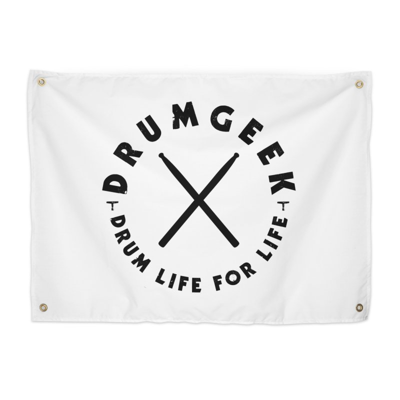 Drum Life For Life (Style 3) - Black Logo Home Tapestry by Drum Geek Online Shop