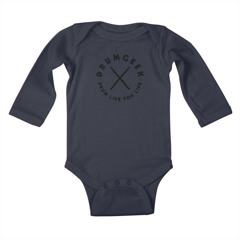 Drum Life For Life (Style 3) - Black Logo Kids Baby Longsleeve Bodysuit by Drum Geek Online Shop