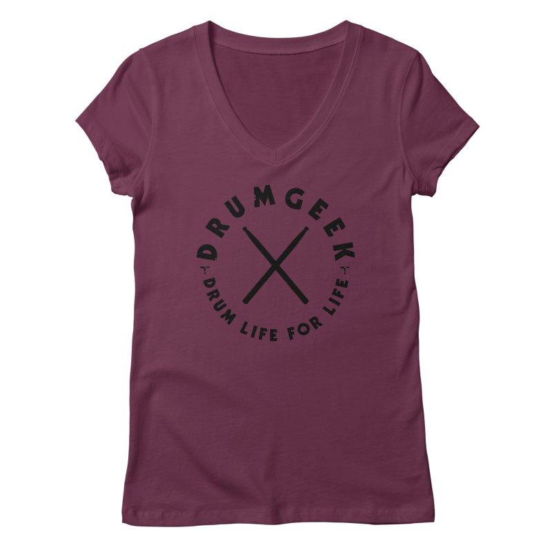 Drum Geel DLFL Logo 3 (Black) Women's V-Neck by Drum Geek Online Shop