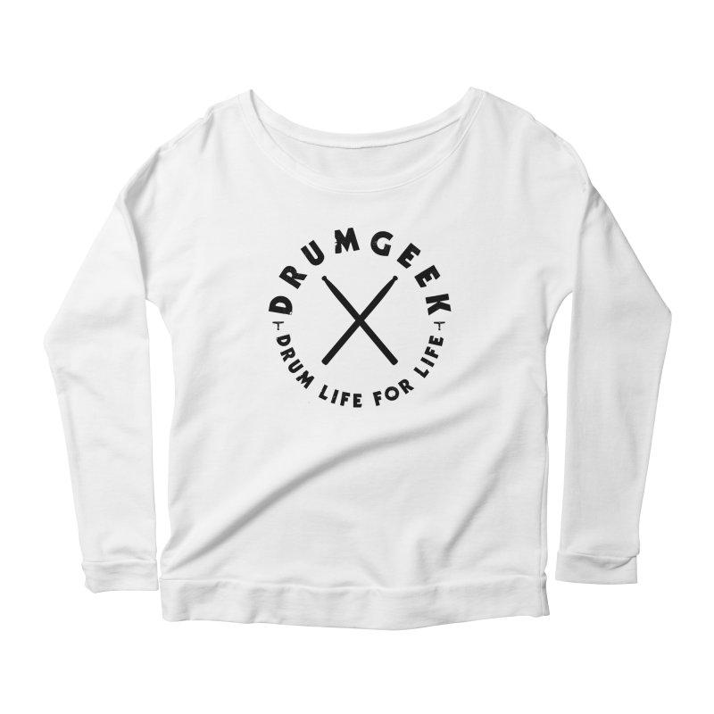 Drum Geel DLFL Logo 3 (Black) Women's Scoop Neck Longsleeve T-Shirt by Drum Geek Online Shop