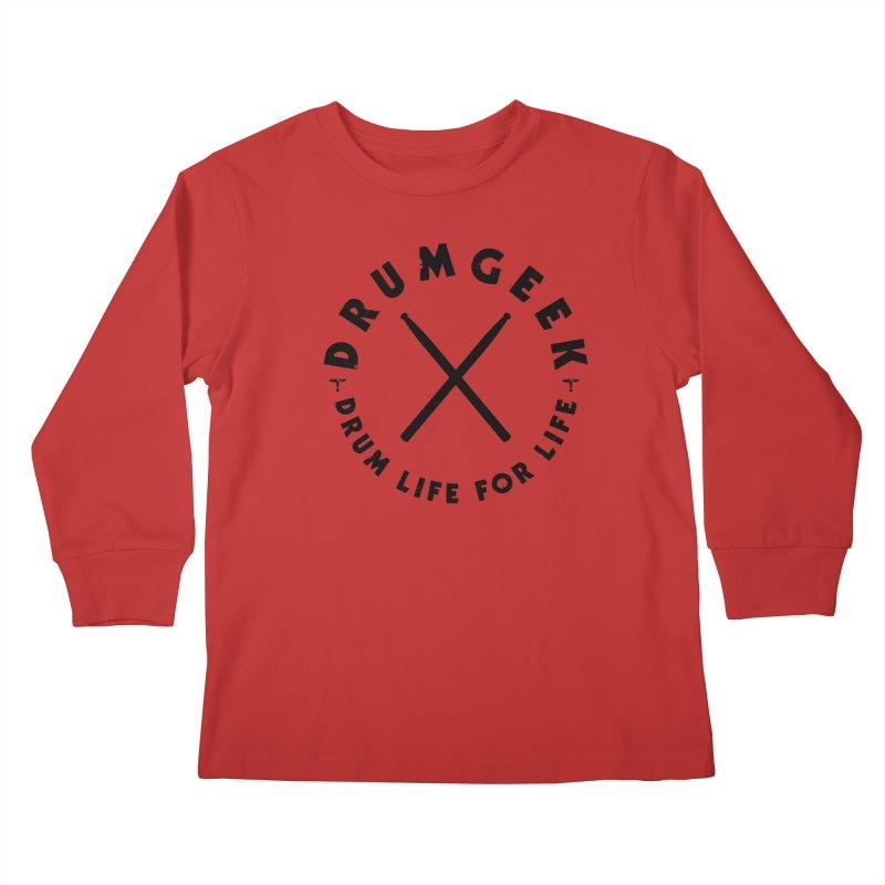 Drum Geel DLFL Logo 3 (Black) Kids Longsleeve T-Shirt by Drum Geek Online Shop