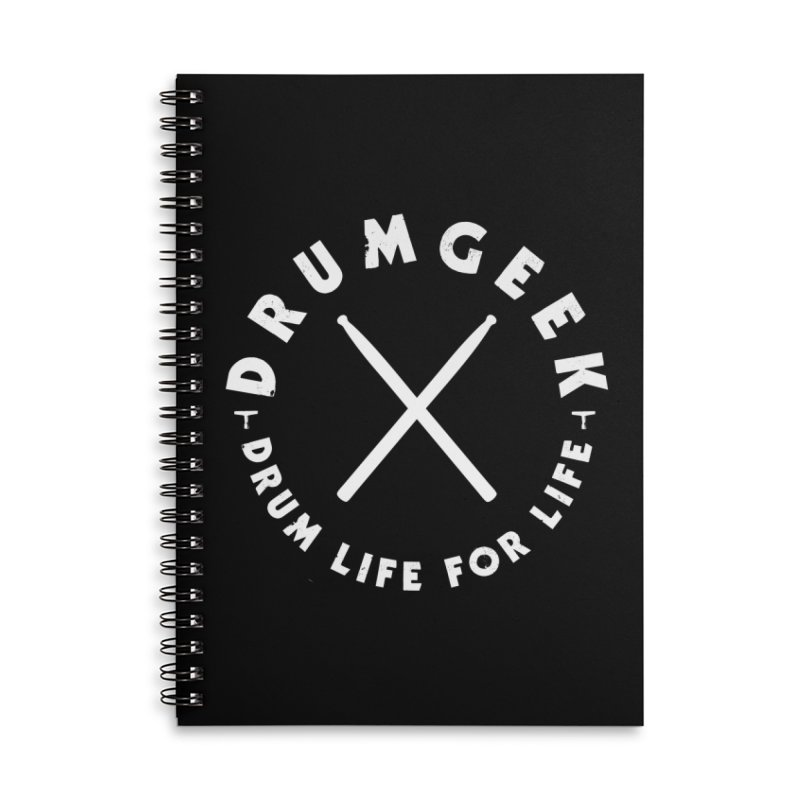 Drum Geek DLFL Logo 3 (White) Accessories Lined Spiral Notebook by Drum Geek Online Shop