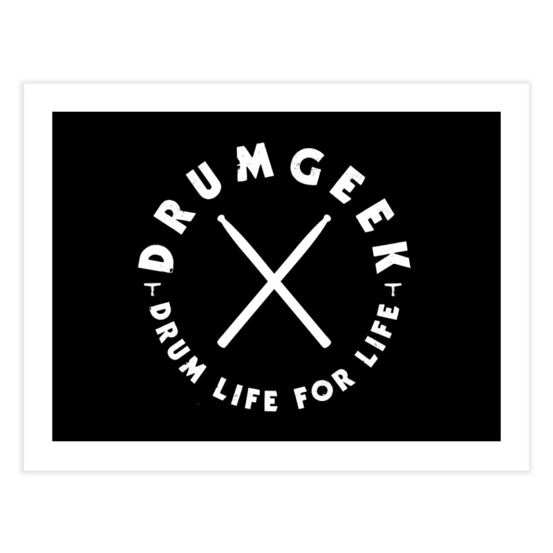Drum Geek DLFL Logo 3 (White) Home Fine Art Print by Drum Geek Online Shop