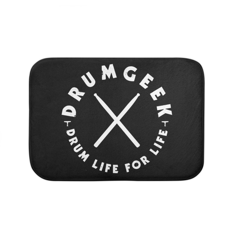 Drum Geek DLFL Logo 3 (White) Home Bath Mat by Drum Geek Online Shop